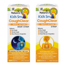 Combo trị ho Nature's Way Kids Smart Cough Clear Triple Action Syrup và Nature's Way Kids Smart Cough Clear Triple Action Night Syrup